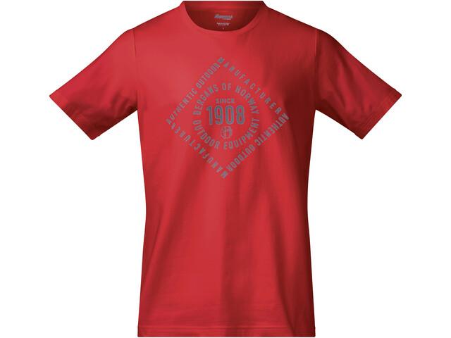 Bergans 1908 Tee Herre fire red/solid grey